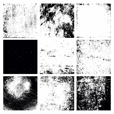 splatter paint: Set of 9 Black Abstract Grunge Textures, Background Templates. Easy to use. Vector Illustration. Damaged, Rough, Detailed Scratched Textures Illustration
