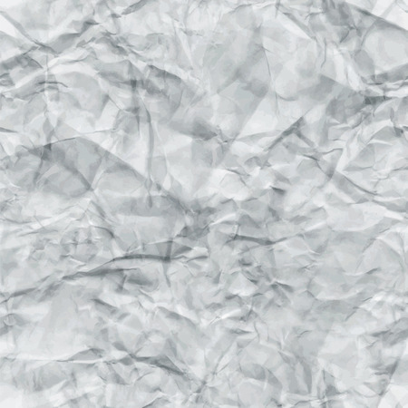 White Crumpled Paper Seamless Texture. Vector illustration. Abstract Detailed Creased Grunge Tileable Background. Pattern Swatch