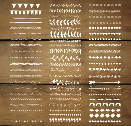 sketched arrows: Set of White Hand Drawn Doodle Line Borders. Rustic Decorative Design Elements, Florals, Dividers, Arrows, Swirls, Scrolls on Wooden Texture. Sketched Vector Illustration.