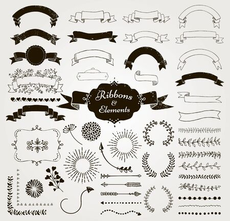Set of Hand Drawn Black Doodle Sketched Rustic Decorative Wedding Design Elements and Ribbons. Grunge Textured Ribbons and Badges. Vintage Vector Illustration.