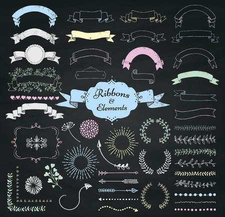 chalk outline: Set of Chalk Drawing Doodle Sketched Rustic Decorative Wedding Design Elements and Ribbons on Chalkboard Background. Grunge Textured Ribbons. Vintage Vector Illustration.