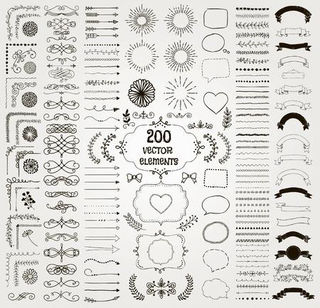 200 Conjunto de dibujado a mano Negro Elementos de diseño del Doodle. Línea decorativa rústica fronteras, floral, divisores, flechas, remolinos, pergaminos, Cintas, Banners, Marcos Corners objetos. Ilustración del vector