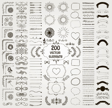branches with leaves: Set of 200 Black Hand Drawn Doodle Design Elements. Rustic Decorative Line Borders, Florals, Dividers, Arrows, Swirls, Scrolls, Ribbons, Banners, Frames Corners Objects. Vector Illustration