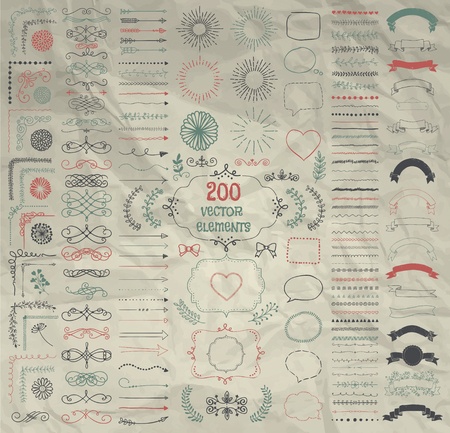 decorative objects: Set of 200 Hand Drawn Doodle Design Elements. Rustic Decorative Line Borders, Dividers, Arrows, Swirls, Scrolls, Ribbons, Banners, Frames Corners Objects on Crumpled Paper. Vector Illustration