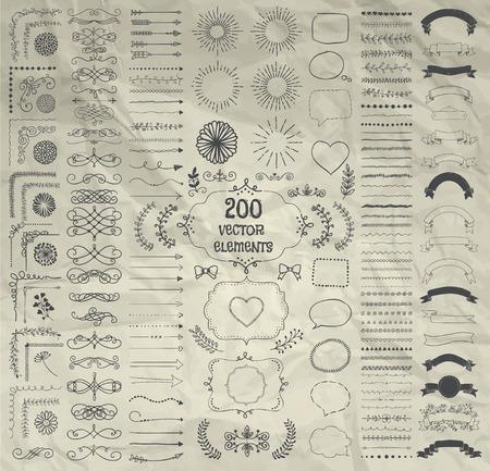 Conjunto de 200 Hand Drawn Doodle Elementos de diseño. Decorativo rústico Línea bordes, elementos divisorios, flechas, remolinos, pergaminos, Cintas, Banners, Marcos Esquinas objetos sobre papel arrugado. Ilustración del vector