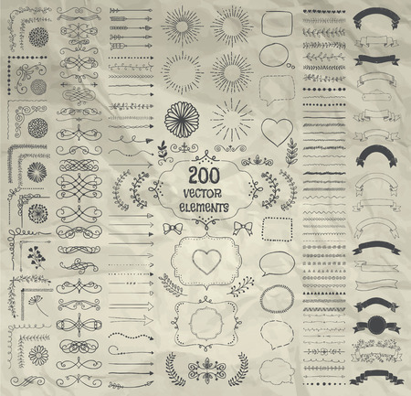 decorative line: Set of 200 Hand Drawn Doodle Design Elements. Rustic Decorative Line Borders, Dividers, Arrows, Swirls, Scrolls, Ribbons, Banners, Frames Corners Objects on Crumpled Paper. Vector Illustration