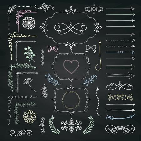 chalks: Set of Hand Drawn Doodle Design Elements. Rustic Decorative Line Borders, Dividers, Arrows, Swirls, Scrolls, Ribbons, Banners, Frames Corners Objects on Chalkboard Taxture. Vector Illustration