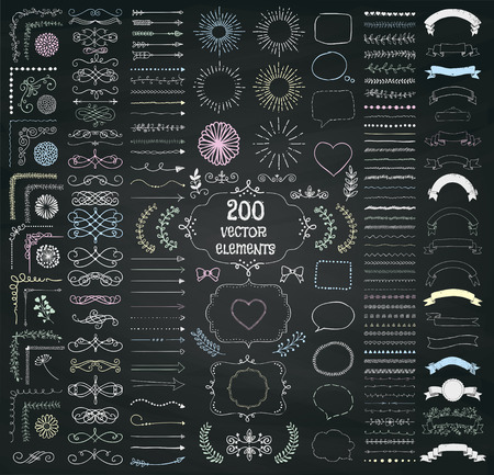 Set of 200 Hand Drawn Doodle Design Elements. Rustic Decorative Line Borders, Dividers, Arrows, Swirls, Scrolls, Ribbons, Banners, Frames Corners Objects on Chalkboard Taxture. Vector Illustration