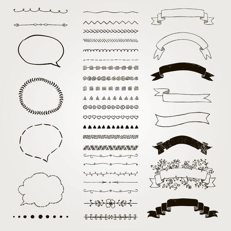 decorative objects: Set of Black Hand Drawn Doodle Design Elements. Rustic Decorative Line Borders, Dividers, Arrows, Swirls, Scrolls, Ribbons, Banners, Frames Corners Objects. Vector Illustration Illustration