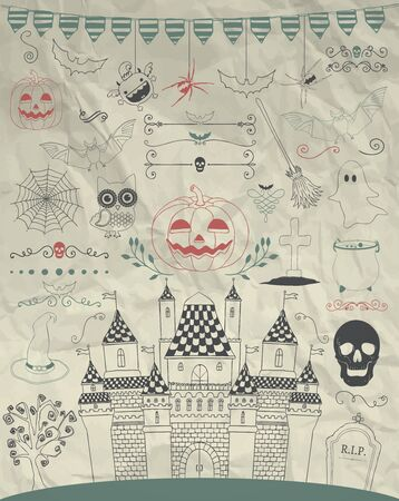 hubcap: Hand Sketched Doodle Halloween Icons Set. Cartoon Characters. Decorative Design Elements, Dividers, Swirls. Horror Symbols on Crumpled Paper Texture. Pen Drawing Vector Illustration. Illustration