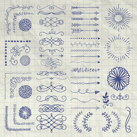 Set de Black Hand Drawn Doodle Design Elements. Rustique Decorative Borders, diviseurs, Arrows, tourbillonne, Manuscrits, Corners, objets sur Froissé Notebook Texture. Vector Illustration
