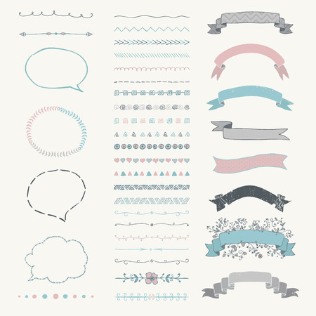 pink ribbons: Set of Colorful Hand Drawn Doodle Design Elements. Rustic Decorative Speech Bubbles, Dividers, Ribbons, Banners, Swirls, Frames, Objects. Vector Illustration Illustration