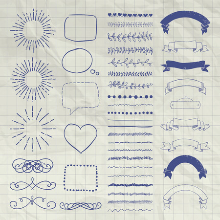 decorative objects: Set of Black Hand Drawn Doodle Design Elements. Rustic Decorative Borders, Dividers, Swirls, Sunbursts, Speech Bubbles, Ribbons, Objects on Crumpled Notebook Texture. Vector Illustration