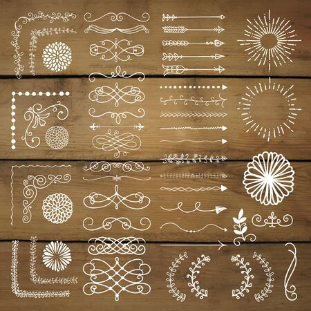 decorative objects: Hand Drawn Doodle Design Elements. Rustic Decorative Line Borders, Dividers, Arrows, Swirls, Scrolls, Ribbons, Banners, Frames, Corners Objects on Wooden Background Texture Vector Illustration