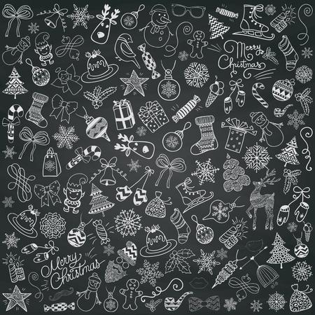 Set di Chalk disegno artistico Natale scarabocchi. Illustrazione di natale di vettore. Delineato sketch decorativi rustici elementi di design, Cartoons on Texture Menu di lavagna. Nuovo anno