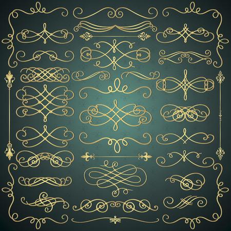 vintage scrolls: Set of Hand Drawn Golden Luxury Royal Doodle Design Elements. Decorative Swirls, Scrolls, Text Frames, Dividers. Vintage Vector Illustration.