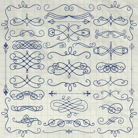 scrunch: Set of Pen Drawing Doodle Design Elements on Crumpled Paper Texture. Decorative Swirls, Scrolls, Text Frames, Dividers on Crumpled Notebook Background Texture. Vintage Vector Illustration.
