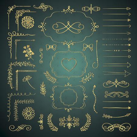 luxo: Conjunto de preto tirado mão do Doodle Design Elements. Rústico Linha decorativa Fronteiras, divisores, setas, redemoinhos, rolos, quadros, cantos Objects. Ilustração vetor