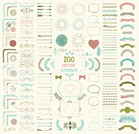 decorative objects: Set of 200 Colorful Hand Drawn Doodle Design Elements. Rustic Decorative Line Borders, Florals, Dividers, Arrows, Swirls, Scrolls, Ribbons, Banners, Frames Corners Objects. Vector Illustration Illustration