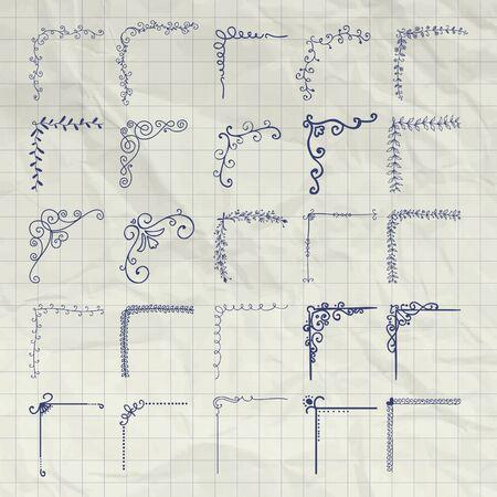 bordes decorativos: Conjunto de dibujado mano del Doodle contorneado Esquinas. Decorativo rústico Elementos de diseño, las esquinas del marco floral, remolinos, Bordes de Cuaderno Textura arrugada. Ilustración dibujo de la pluma.