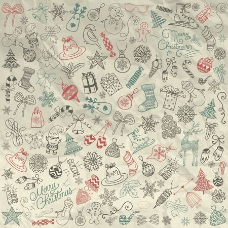 objects paper: Set of Hand Drawn Artistic Christmas Doodles. Xmas  Illustration. Outlined Sketched Decorative Rustic Design Elements, Cartoons on Crumpled Paper. New Year Signs, Symbols, Objects