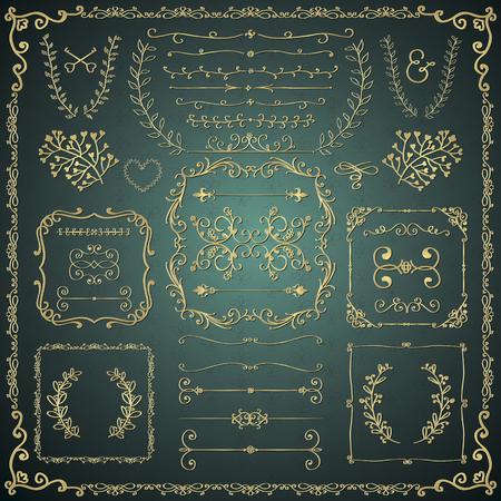 golden frames: Golden Hand Drawn Sketched Decorative Vintage Design Elements. Royal Glossy Luxury Frames, Text Frames, Dividers, Floral Branches, Borders, Brackets.