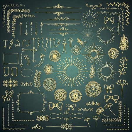 decorative objects: Set of Golden Hand Drawn Doodle Design Elements. Rustic Decorative Frame Borders, Dividers, Arrows, Swirls, Branches, Banners, Frames, Corners, Objects. Illustration