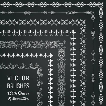 chalks: Collection of Pattern Brushes with Outer and Inner Tiles. Chalk Drawing Outlined Hand Drawn Vintage Seamless Line Borders, Frames, Corners on Chalkboard Texture.