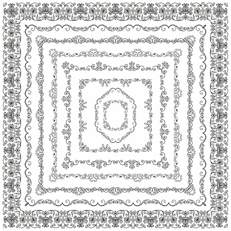 lace pattern: Collection of Black Outlined Hand Drawn Vintage Square Borders, Frames. Design Elements.