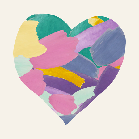 Colorful Watercolor Heart Shape from Brushes Strokes