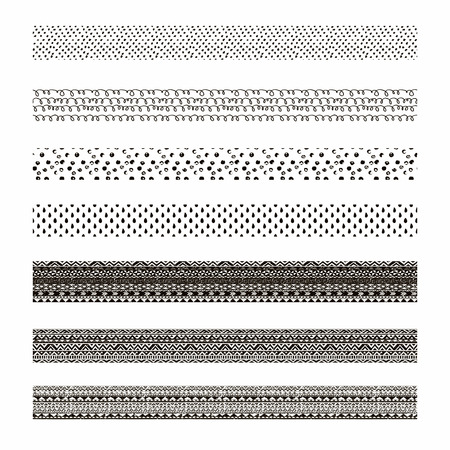 borders abstract: Vector black abstract tribal seamless pattern borders