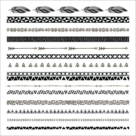 borders abstract: Black abstract tribal pattern borders. Vector Illustration.