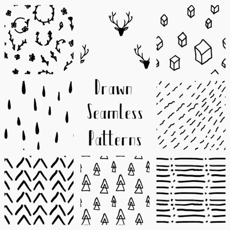 seamless patterns: Vector Abstract Hand Drawn Black Seamless Patterns