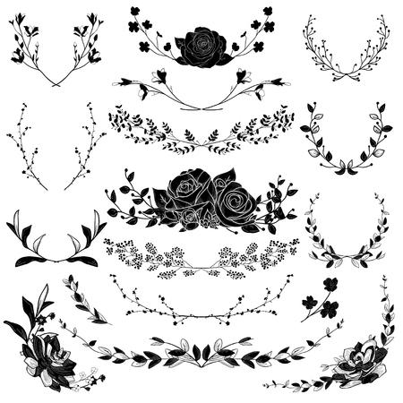 brackets: Black Drawn Herbs, Plants and Flowers. Vector Illustration Illustration