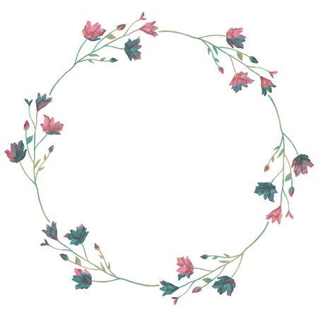 Watercolor greenery wreath  illustration.