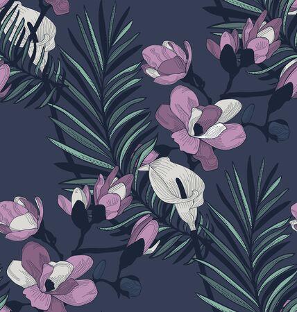 Vector Donker Kleurrijk Decoratief Naadloos Patroon Als achtergrond met Getrokken Bloemen, Kersenbloesem, Callalily, Orchidee, Varen. Hand getekend. Vectorillustratie met patroonstaal. Twilight bloemen