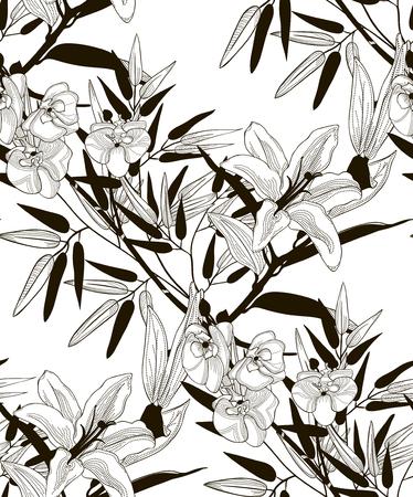 Modèle sans couture de vecteur avec des fleurs et des feuilles dessinées Banque d'images - 91397449