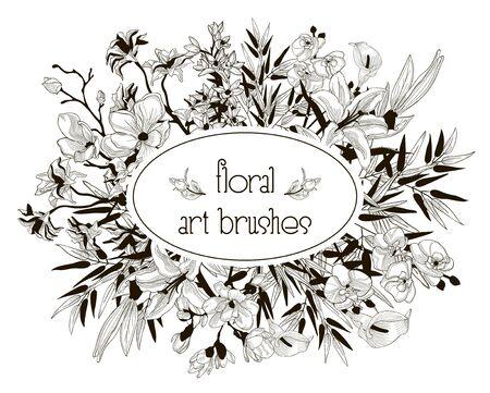 Collection de brosses Art Floral flexible Vector Banque d'images - 92402307