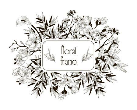 Vector Floral Frame avec des fleurs, des branches, des feuilles Banque d'images - 92548942