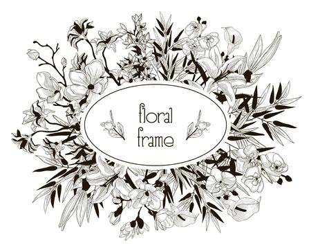 Vector Floral Frame avec des fleurs, des branches, des feuilles Banque d'images - 92554997