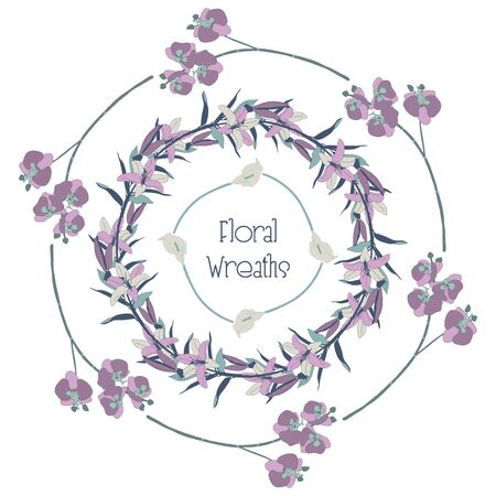 Colorful Hand Drawn Floral Wreaths, Round Frames with Branches, Herbs, Plants and Flowers. Decorative Outlined Vector Illustration. Flower Design Elements. Orchid, Lily Illustration