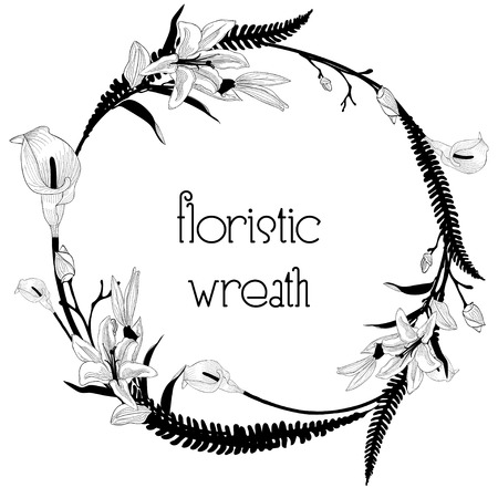 Delicate Floristic Wreath. Flower Design Frame Element