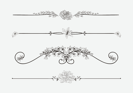 Vector Black Floral Dividers with Flowers and Swirls