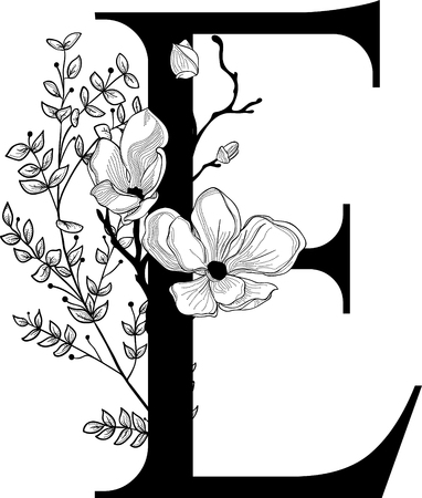 Vector Hand getrokken floral E monogram en logo