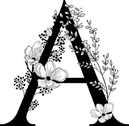 Vector Hand Drawn floral A monogram and logo