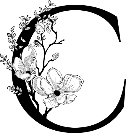 Vector Hand Drawn floral C monogram