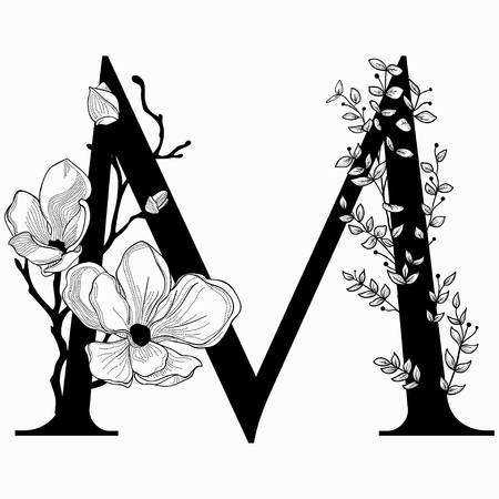 Vector hand drawn floral M monogram and icon illustration.