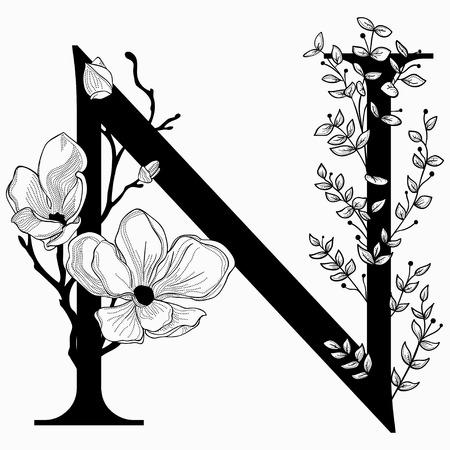 Vector die Hand, die mit Monogramm und Ikone des Versalienbuchstaben N mit Blumen gezeichnet wird. Vektorgrafik