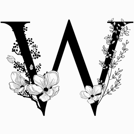 Vector Hand Drawn floral uppercase W monogram and icon.