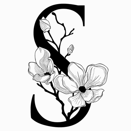 A Vector Hand Drawn floral uppercase S monogram and logo
